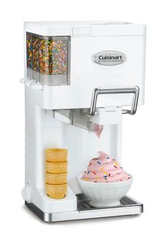 Make professional-quality soft ice cream, yogurt, sorbet, and sherbet right at home with this Cuisinart fully automatic, soft-serve ice-cream maker. A unique pull handle sends ice cream swirling out l