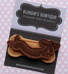 Doxie Dog Felt Hair Clip - Snap Clip - Felt Hair Clip - Puppy Hair Clip - SNAP CLIP. $3.95, via Etsy.