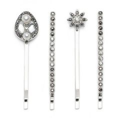 Lonna & Lilly Faux Pearl and Glitz Bobby Pin Set, Silvertone ($18) ❤ liked on Polyvore featuring accessories, hair accessories и silver