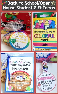 Creative ideas for back to school / open house student gifts. Having a little something special waiting for young students on the first day of school or on Meet the Teacher Night (Open House) helps make them feel a little more at ease and excited about beginning school. https://lessons4littleones.com/2016/07/19/back-to-school-open-house-meet-the-teacher-student-gift-tags/