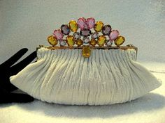 Vintage 1940 1950 French Josef beaded evening purse with jeweled Hobe frame