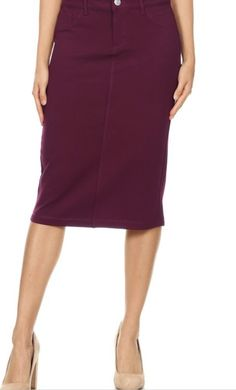 Burgundy Twill Stretch Pencil Skirt #modest #pencilskirt #denimskirt  #burgundy