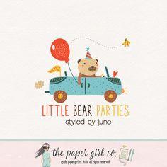 party logo design bear logo party planner logo by ThePaperGirlCo