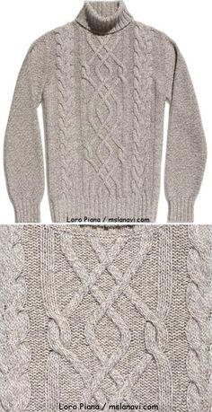 Мужской свитер с аранами от Loro Piana | Вяжем с Лана Ви
