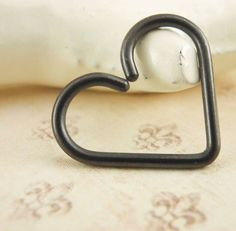 16 gauge Black Niobium Heart Piercing Hypo Allergenic by favmoongirl on Etsy, $15.00