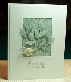 Back Porch Stamper: Vellum Sympathy Card  Cut out has embossed vellum behind it.