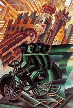 Fortunato Depero (italiano, 1892 – 1960). Le cycliste traverse la ville (1945), pintura. Futurismo. Ideia de movimento e velocidade pela repetição da imagem ciclista. Sentimento de desapego ao passado, individualismo, utilização de cores vivas e contrastes e sobreposição de imagens em prol da ideia de dinamismo. Há influência do cubismo nas formas geométricas.