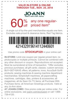 Latest joann fabrics coupons joanns printable coupons for Promo code for consumer crafts