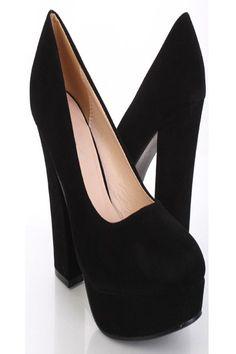 34afe2db8bf1 Black Faux Suede Closed Toe Platform Pump Chunky Heels   Sexy Clubwear