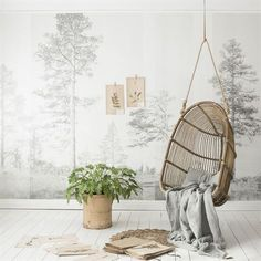 Impressive forest wallpaper mural by Scandinavian Surface. Available in 6 beautiful colours. Scandinavian Wallpaper, Scandinavian Design, Swedish Design, Danish Design, Mood Wallpaper, Photo Wallpaper, Home Interior, Interior Design, New Nordic