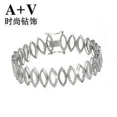 A+V18K白金钻石手链手镯女欧美名贵奢华镂空群镶排钻结婚专柜正品