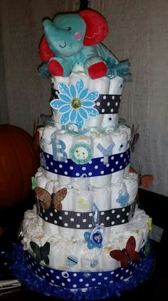 Boy diaper cake (front view)