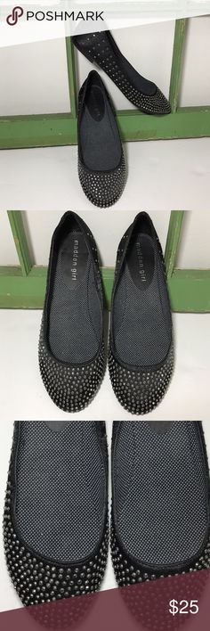 MADDEN GIRL BLACK SATIN DIAMOND STUDDED FLATS MADDEN GIRL BLACK SATIN DIAMOND STUDDED FLATS . Perfect little flats with just the right amount of bling . Size 7.5 all man made material . Caution not real diamonds preloved in excellent condition. All studs intact . Madden Girl Shoes Flats & Loafers