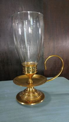 Vintage Brass Candle holder with Handle and Glass Globe/Chimney