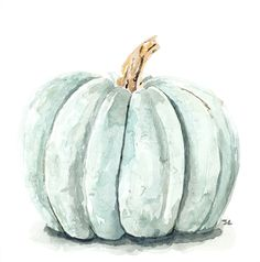 Blue Pumpkin Art Print by Studio Slc - X-Small Pumpkin Art, Blue Pumpkin, Guache, Fall Wallpaper, Autumn Art, Autumn Ideas, Painted Pumpkins, Illustrations, Painting Inspiration