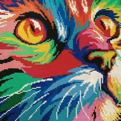 Colorful cat hama perler beads by wolleplanet Pixel Beads, Fuse Beads, Beads And Wire, Diy Perler Beads, Perler Bead Art, Pixel Art, Hama Beads Patterns, Melting Beads, Beaded Cross Stitch