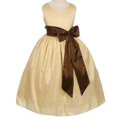 Champagne Flower Girl DressBeautiful champagne/ivory taffeta dress with long taffeta chocolate colored bow embellishing the waist line. This flower girl dress is multi layered with lining and crushed crinoline under the heavy machine washable taffeta. Made in the USA by top designer Sweet Kids.