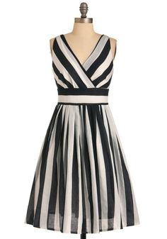 Glamour Power to You Dress in Stripes