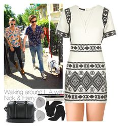 """Walking around L.A with Nick and Harry."" by outfitsbynina9 ❤ liked on Polyvore featuring moda, Forever 21, Topshop, Yves Saint Laurent, Givenchy, Christian Dior, BCBGeneration, NARS Cosmetics ve Napoleon Perdis"