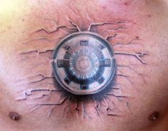 I'm such a nerdXD Iron Man Arc Reactor Tattoo.//Why must you be a man to get this? I'd totally get it and have an awesome Arc Reactor between my cleavage. Marvel Tattoos, Nerdy Tattoos, Sweet Tattoos, Cute Tattoos, Beautiful Tattoos, Body Art Tattoos, Tatoos, Mens Tattoos, 3d Tattoos
