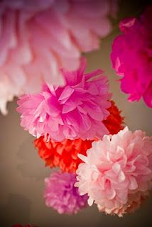 SewSweetStitches: Handmade Tissue Paper Flowers and Pompom Garland. For room...