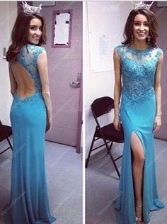 179.00$  Buy here - http://vixzl.justgood.pw/vig/item.php?t=gu1bvb3118 - Aqua Blue Embellished Front Split Chiffon Prom Dress With Keyhole Back