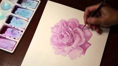 How to draw a rose watercolor. Tutorial.