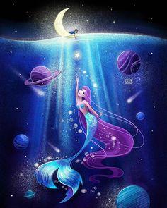 🌊⠀ A whole universe inside the sea where a lonely mermaid shares her star's magic with a stranger 💜⠀ ⠀ ———————-⠀ ⠀ ⠀ (Пишите свой… Mermaid Artwork, Mermaid Drawings, Mermaid Tattoos, Mermaid Paintings, Fantasy Mermaids, Unicorns And Mermaids, Mermaids And Mermen, Real Mermaids, Fantasy Magic