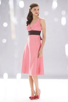 Fancy A-line empire waist taffeta dress for bridesmaid