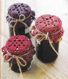 Glass Jar Covers - I remove jar metal lids and replace with crochet covers (those shown above are not mine). Takes just a few minutes to crochet a top cover and so pretty. Perfect for room deodorizer. Fill jar half-way with fresh baking soda, then add a couple drops of your favorite essential oil. When scent fades just shake to refresh. Scent lasts a long time. No chemicals or masking odors.