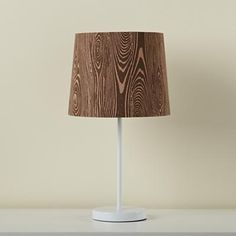 Kids' Lighting: Kids' White Table Lamp and Woodgrain Shade in Table Lamps