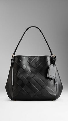 71798c49787 Small Embossed Check Leather Tote Bag