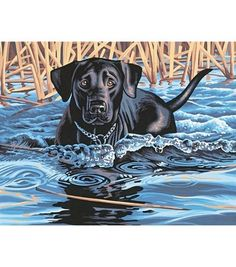 The black dog in the lake Animal DIY Digital Painting By Numbers Modern Wall Art Canvas Painting Unique Gift Home Cheap Paintings, Realistic Paintings, Canvas Paintings, Lake Animals, Paint By Number Kits, Heart Painting, Wildlife Art, Texture Art, Sculptures