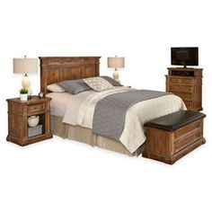 Home Styles Americana Vintage 5-Piece Headboard and Bedroom Furniture Set - BedBathandBeyond.com