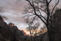 Zion State Park Sunset in Dec.