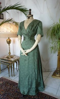 a0bf89ed89674f Edwardian Green Silk Day Dress
