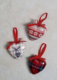 Stag, tartan and fair isle Christmas hearts from Matalan