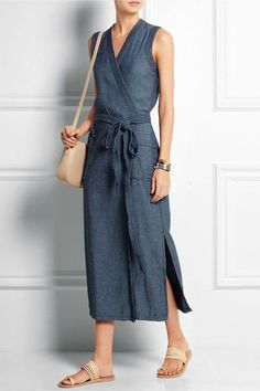 Madewell - Denim wrap dress Blue denim Concealed snap fastening at front cotton Machine wash Mode Outfits, Dress Outfits, Casual Dresses, Fashion Dresses, Summer Dresses, Denim Dress Outfit Summer, Wrap Dress Outfit, Easy Dress, Modest Fashion