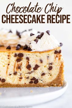 This easy recipe for Chocolate Chip Cheesecake will be your new favorite dessert recipe! A graham cracker crust has a luscious cheesecake filling loaded with mini chocolate chips, then topped with fresh whipped cream and more. Best Cheesecake, Cheesecake Recipes, Chocolate Chip Cheesecake Bars, Cookie Dough Cheesecake, Fruit Cheesecake, Turtle Cheesecake, Classic Cheesecake, Cheesecake Brownies, Mini Chocolate Chips