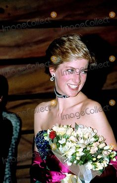 """Princess Diana at the First Night of Andrew Lloyd Webber's New Musical Called """"the Phantom of the Opera"""" at Her Majesty's Theatre, London 1986 Photo by Uppa-ipol-Globe Photos, Inc."""