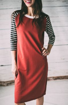 Our Baseball Dresses were a HUGE hit and for obvious reasons. It's comfy, stretchy, and perfect for any girl on-the-go! Maroon Body with Charcoal/White Stripe Sleeves Material is heavy enough to avoid