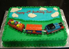 Thomas Birthday Cake - 11 x 15 sheet cake decorated with the Thomas Birthday Train.  It was a big hit!  Thanks to several on CC for inspiration!