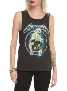 Faded black cut-off style sleeveless top from Metallica with electric chair design on front.