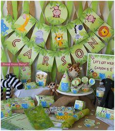 Jungle Safari Birthday or Baby Shower Printables - DIY - Party decorations Baby Boy on Etsy, $16.99 CAD