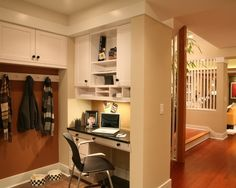 best solution to maximizing small space for home office with tiny office desk in the hallway building office pantry