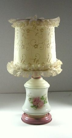 Vintage Lamp Milk Glass Toleware Base Fabric Shade by Remtique, $15.00