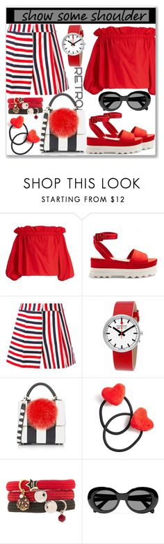 """""""Shimmy, Shimmy: Off-Shoulder Tops"""" by slynne-messer ❤ liked on Polyvore featuring Marques'Almeida, Miu Miu, Thom Browne, Mondaine, Les Petits Joueurs, Ponytail Pals, Marc Jacobs, Acne Studios and Retrò"""