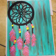canvas painting of a dreamcatcher