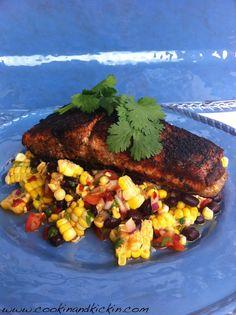 Cajun Blackened Salmon on Sweet and Spicy Corn Salad | Cookin' And Kickin'