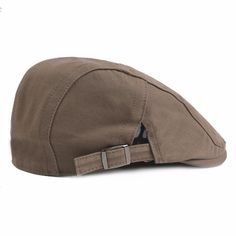 afe37ddd7d7f5 Men s Cotton Solid Color Adjustable Beret Cap Duck Hat Sunshade Casual  Outdoors Peaked Forward Cap